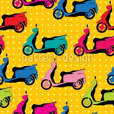 Scooters And Polkadots Vector Pattern
