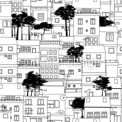 Favela Silhouette Nahtloses Vektor Muster