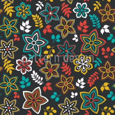 Blüten Und Blatt Fantasie Einer Sommernacht Musterdesign