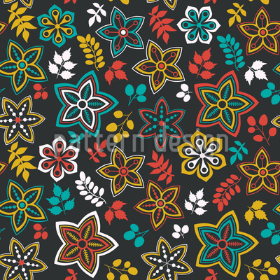 Flowers and leaf fantasy One Summer Night Pattern Design