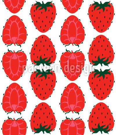 Erdbeeren Halb Und Ganz Nahtloses Muster