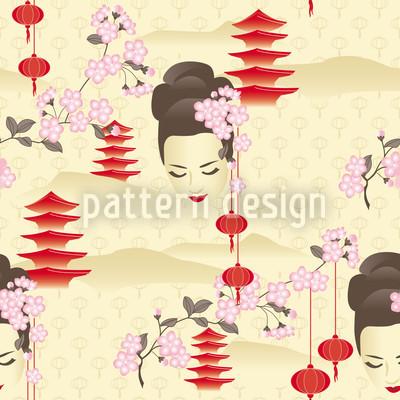 Kirschblüten Geisha Rot Muster Design