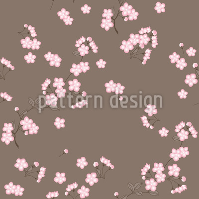 Cherryblossoms Brown Pattern Design