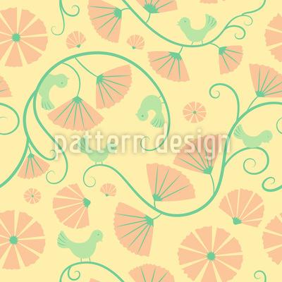 Birds And Fan Flowers Repeat Pattern