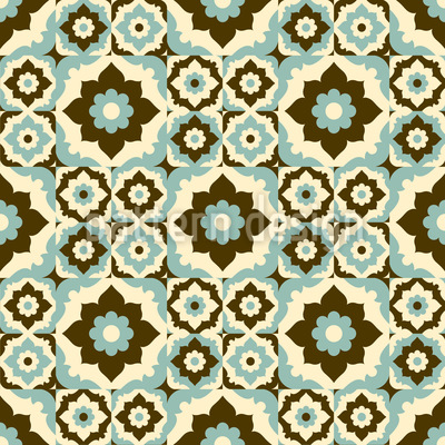 Flowers In Retro Winter Seamless Vector Pattern