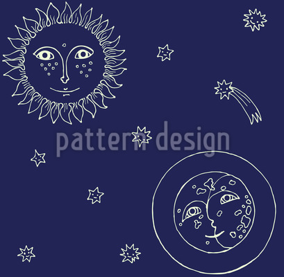 Miss Sunlight And Mister Moon Vector Pattern
