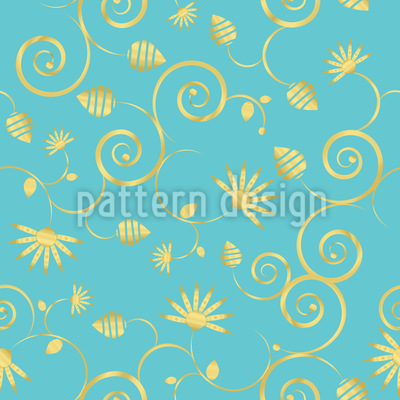 A Sky Full Of Gold Flowers Design Pattern