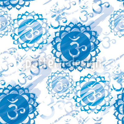 Om Blue and White Repeating Pattern