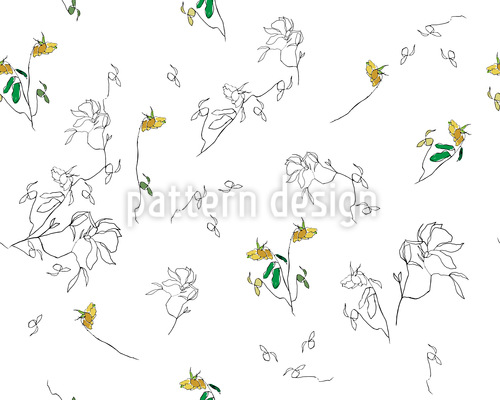 Summer Flower Drawing Repeat Pattern