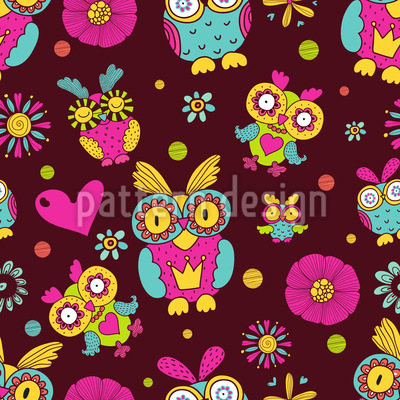 Owls In Chocolate Seamless Pattern