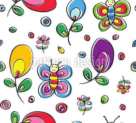 Butterflies In Floral Bliss Design Pattern