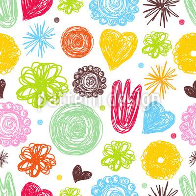 Wenn Mädchen Zeichnen Nahtloses Vektor Muster