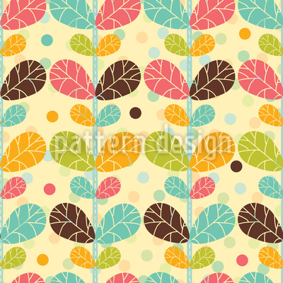 Retro Twin Leaf Vector Pattern