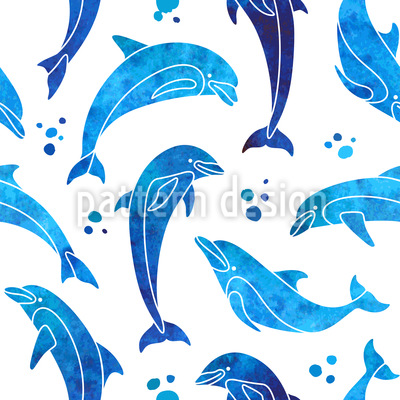 Dolphins In Water Color Seamless Vector Pattern