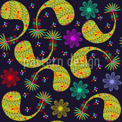 Paisley Und Blume Bei Nacht Muster Design
