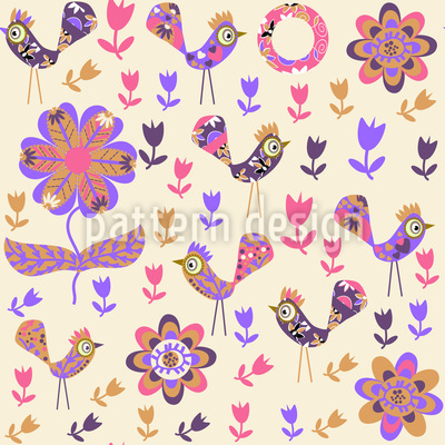 Patchwork Birds In The Garden Seamless Pattern