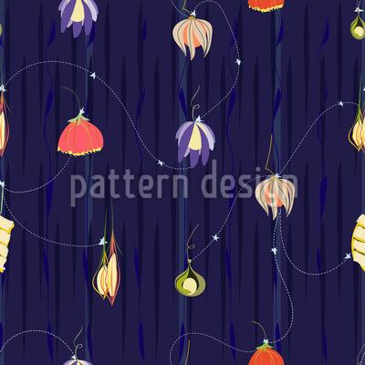 Die Nacht Der Blumen Laternen Musterdesign