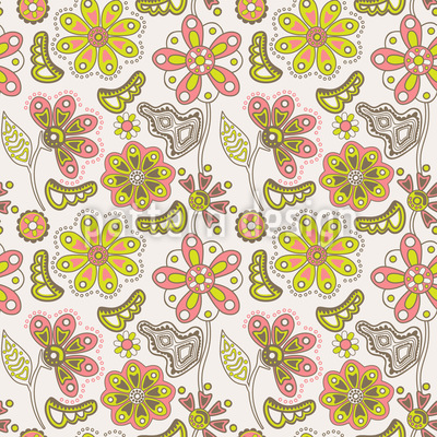 Where The Beautiful Flowers Grow Vector Pattern