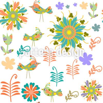 Patchwork Vögel  Muster Design