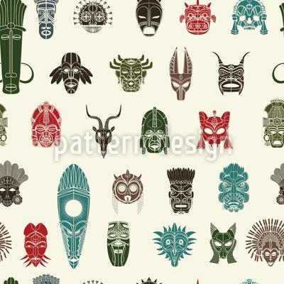 Stammes Masken Nahtloses Vektor Muster