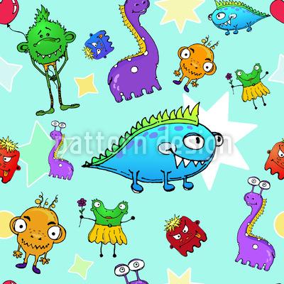 Monster Stars Vector Pattern