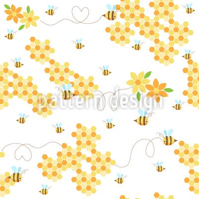 Bees Love Honeycombs Pattern Design
