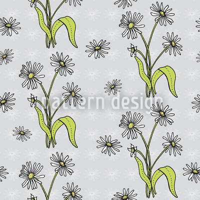Daisy Flowers Grey Design Pattern