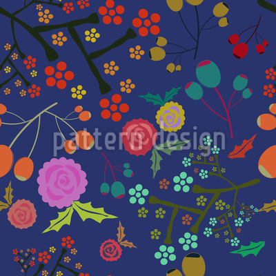 Olives And Flowers Design Pattern