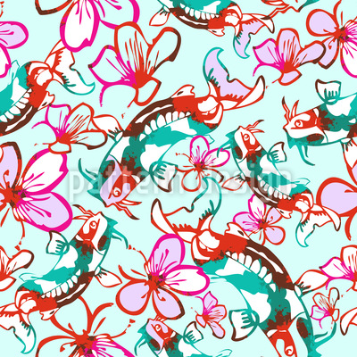 Koi In A Sea Of Flowers Repeat Pattern