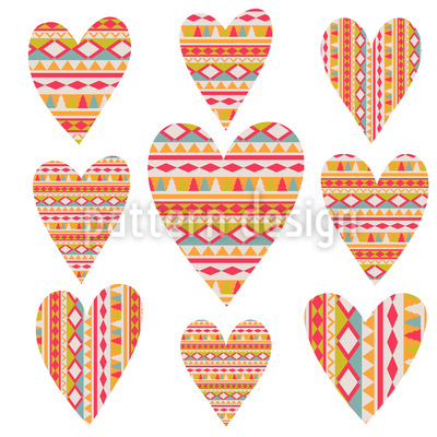 Tribal  Hearts Seamless Pattern