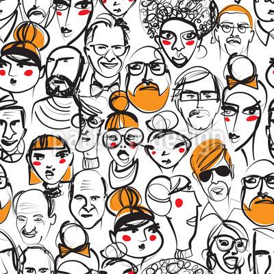 Menschenmenge Nahtloses Vektor Muster