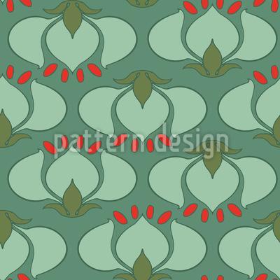 Jugendstil Tulpen Nahtloses Vektor Muster