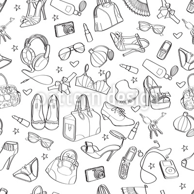 Scattered Accessories Vector Pattern
