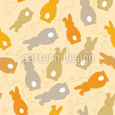 Bouncing Bunnies Yellow Repeating Pattern