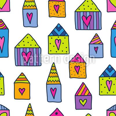 Lovely Houses Vector Ornament