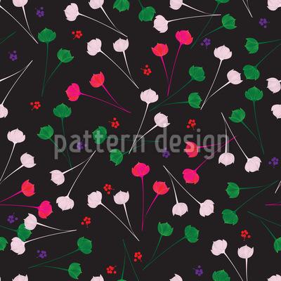 Zarte Blumen Bei Nacht Nahtloses Vektor Muster