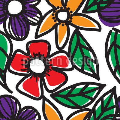 Blumen Gekritzel Nahtloses Vektor Muster