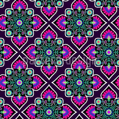 Folklore Blumen Zum Quadrat Nahtloses Vektor Muster
