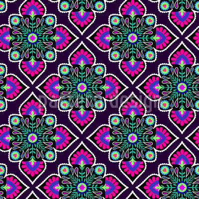 Folklore Flowers To The Square Seamless Vector Pattern