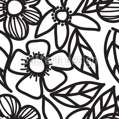 Flower Doodles Black And White Design Pattern