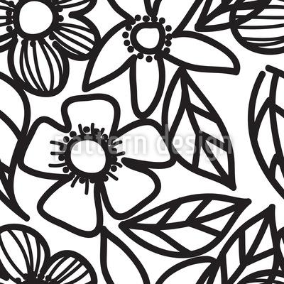Schwarz-Weiß Blumen Gekritzel Designmuster