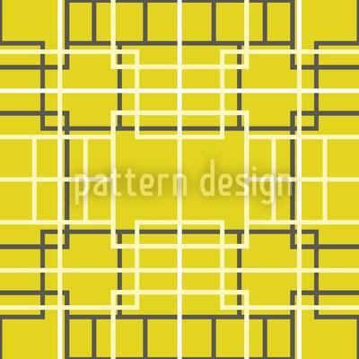 Asiatisches Gitter Gelb Designmuster