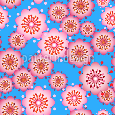 Blossoms From Japan Repeating Pattern