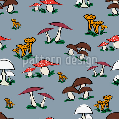 Picking Mushrooms Repeating Pattern