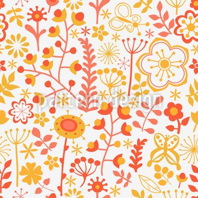 Sommerblumen Am Morgen Vektor Muster