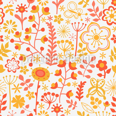 Summer Flowers At Dawn Vector Pattern