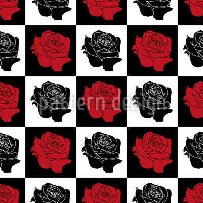 Chess Board With Roses Pattern Design