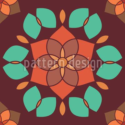 Lotusblüte Retro Rapportmuster