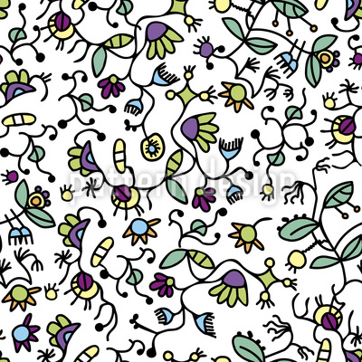 Doodle Flora Seamless Vector Pattern