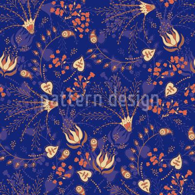Nataschas Zaubergarten Blau Vektor Muster